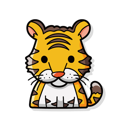 tigre caricatura: China doodle de tigre del zodiaco Vectores