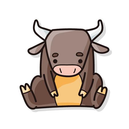 buey: China doodle de buey del zodiaco Vectores