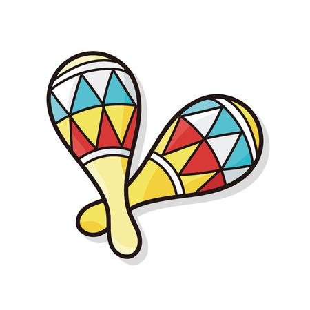 maracas: musical instrument Maracas doodle Illustration