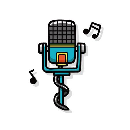 instruments de musique: instrument de musique microphone doodle Illustration