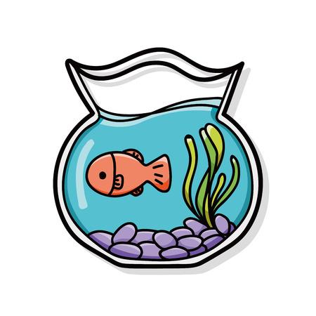 vissenkom doodle Stock Illustratie