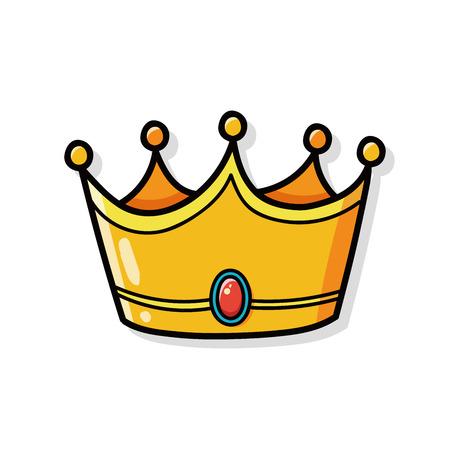corona reina: corona del doodle Vectores