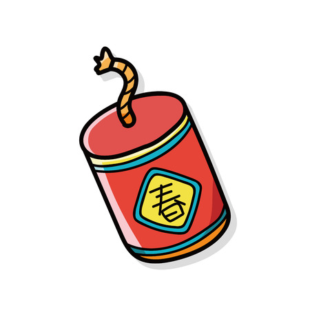 firecrackers: Chinese firecrackers doodle Illustration