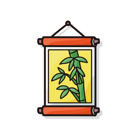 lucky bamboo: Chinese New Year decorative bamboo doodle