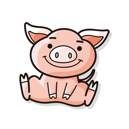 Chinese Zodiac pig doodle  イラスト・ベクター素材