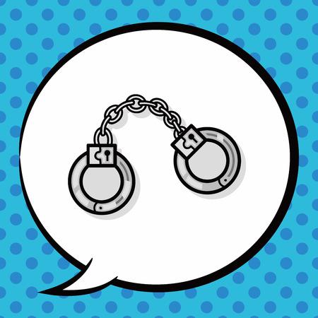 bondage: Handcuffs doodle, speech bubble