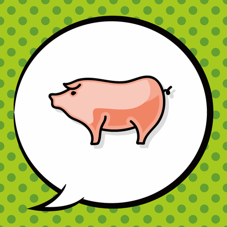 pig with wings: pig doodle, speech bubble Illustration