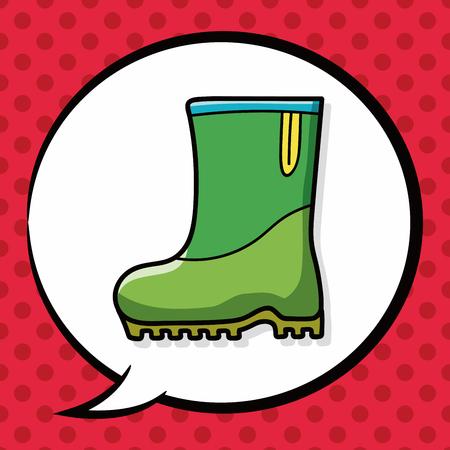 rain boots: botas de lluvia garabato, la burbuja del discurso Vectores