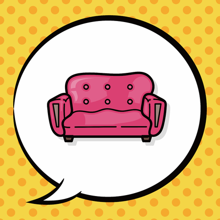 sofa: chair sofa doodle, speech bubble Illustration