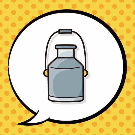 milk pail: milk bucket doodle, speech bubble
