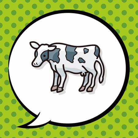 agriculture icon: cow doodle, speech bubble Illustration