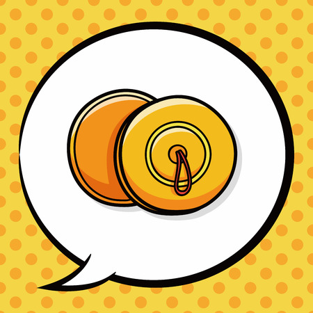 cymbals: musical instrument Cymbals doodle, speech bubble Illustration