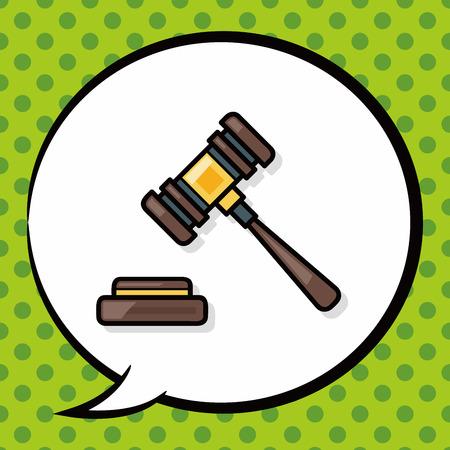 lawyer court: Gavel doodle, speech bubble