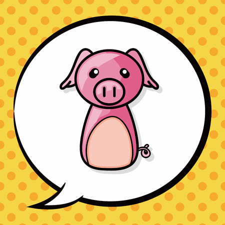 chinese pig: Chinese Zodiac pig doodle, speech bubble Illustration