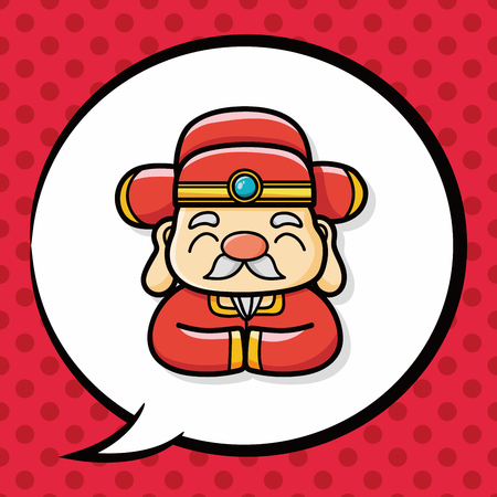god of wealth chinese new year: Chinese New Year God of wealth doodle, speech bubble Illustration