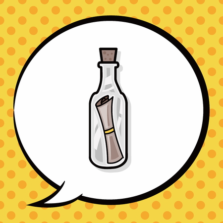 message in bottle: Message in a Bottle doodle, speech bubble