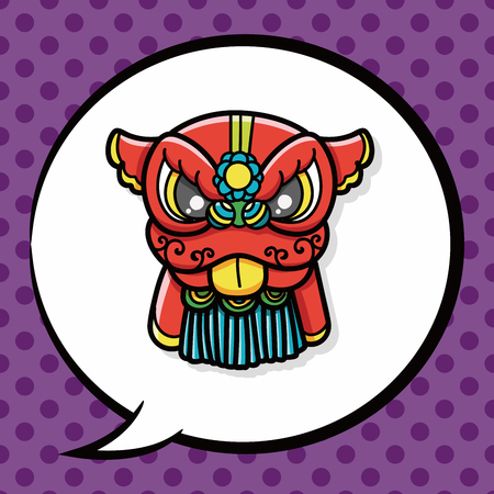 year of the dragon: Chinese new year dragon and lion dancing head doodle, speech bubble