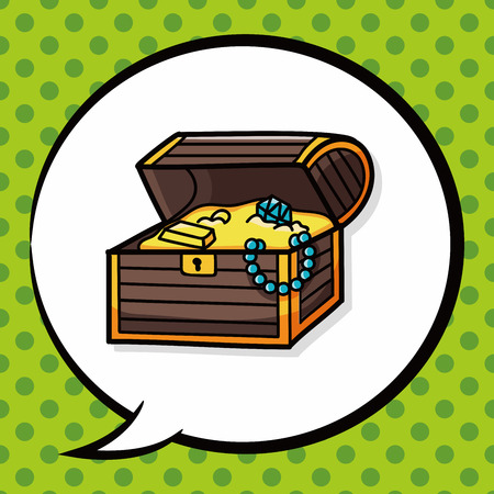 hand on chest: Treasure doodle, speech bubble Illustration