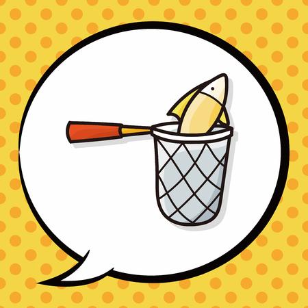 fishing net: Fishing net doodle, speech bubble