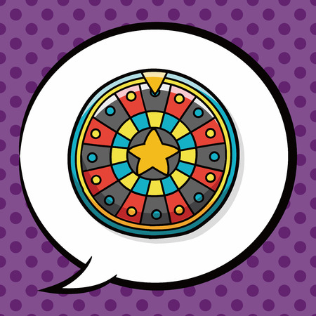 wheel of fortune: Roulette doodle, speech bubble