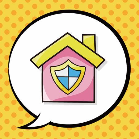 house security doodle, speech bubble