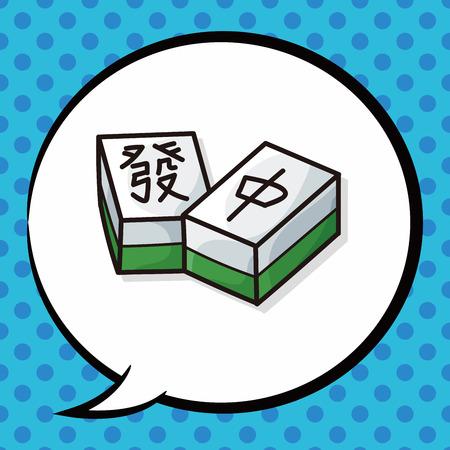 palying: Chinese mahjong doodle, speech bubble