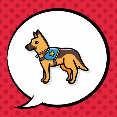 rescue dog: Police dog doodle, speech bubble