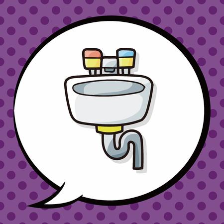 kitchen shower: sink doodle, speech bubble