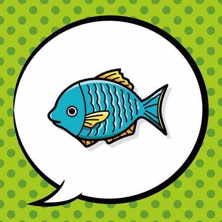 hand line fishing: fish doodle, speech bubble Illustration