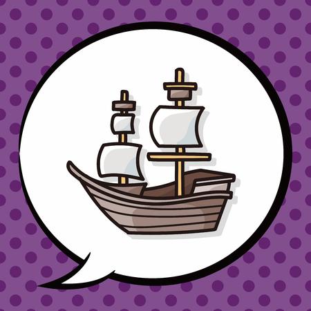 caravel: Pirate Ship doodle, speech bubble Illustration