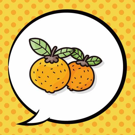 mandarin: Chinese New Year Mandarin Oranges doodle, speech bubble