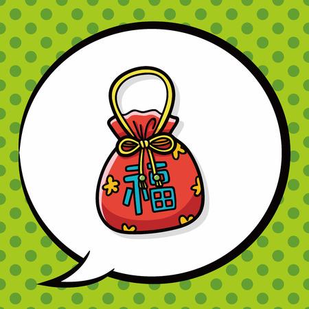 talisman: Chinese talisman doodle, speech bubble Illustration