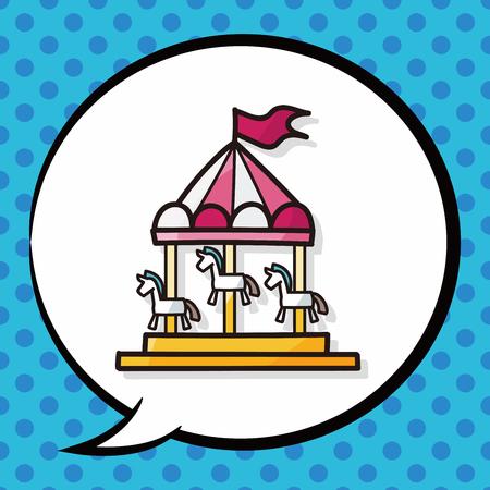 fair play: Merry-go-round doodle, speech bubble Illustration