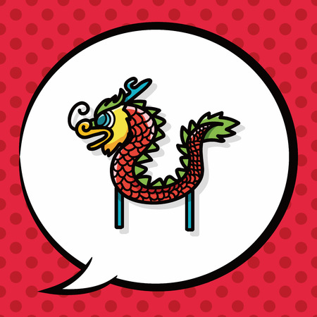 dancing dragon: Chinese new year dragon and lion dancing head doodle, speech bubble