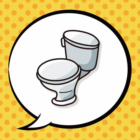 toilet paper art: toilet doodle, speech bubble Illustration