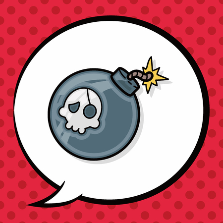 bomb: bomb doodle, speech bubble Illustration
