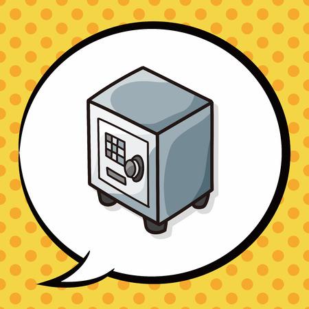 safety deposit box: Safety Deposit Box doodle, speech bubble