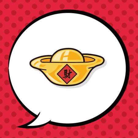 gold ingot: Chinese New Year Gold ingot doodle, speech bubble Illustration