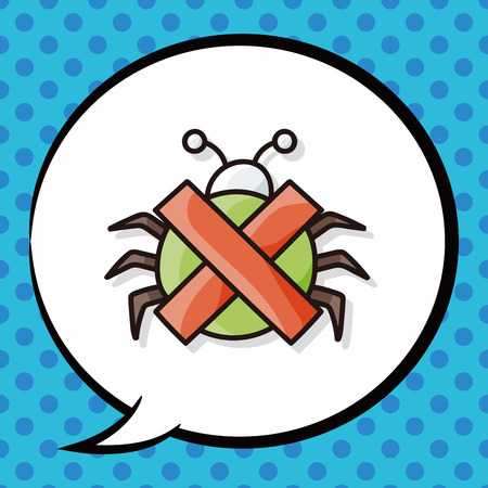 computer bug: computer bug doodle, speech bubble