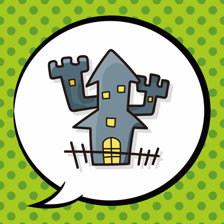 ghost house: ghost house doodle, speech bubble Illustration