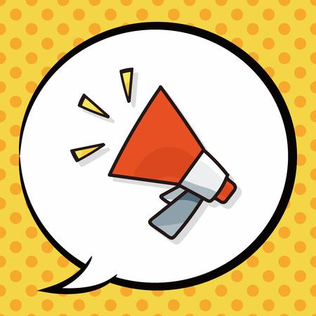 megaphone icon: loudspeaker doodle, speech bubble