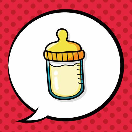 bottle feeding: Feeding bottle doodle, speech bubble Illustration
