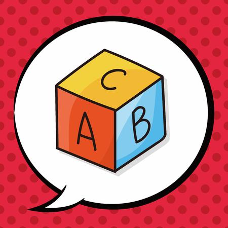 silueta niño: doodle de juguetes educativos, burbuja del discurso