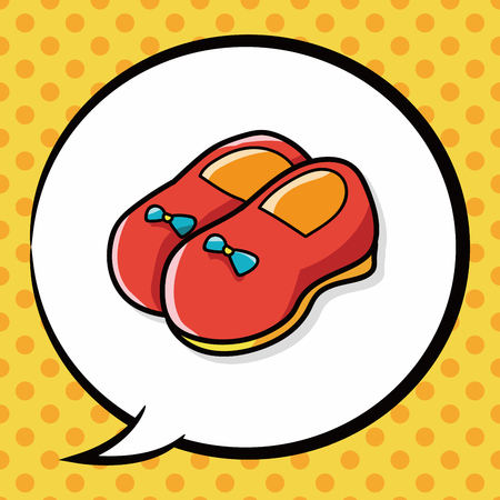 cute baby girls: baby shoes doodle, speech bubble