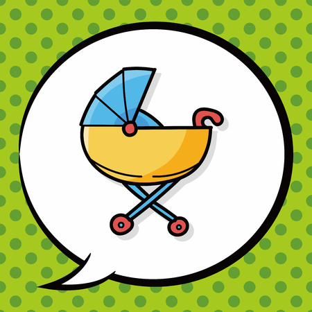 cute baby girls: Baby carriages doodle, speech bubble