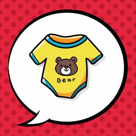 baby clothes doodle, speech bubble