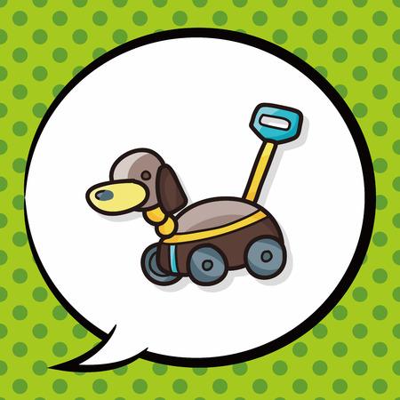 junkyard: toy dog car doodle, speech bubble