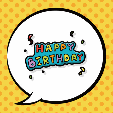 happy birthday text: happy birthday doodle, speech bubble