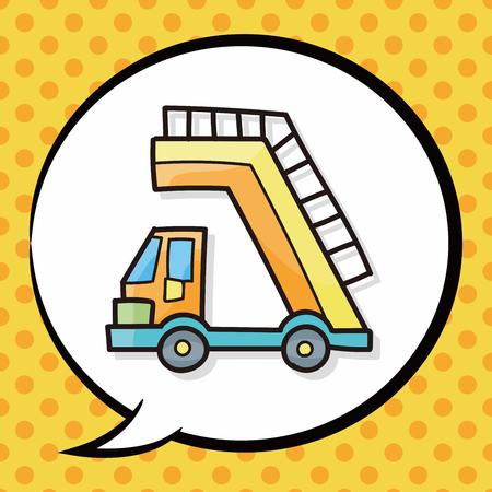 lift trucks: Lift trucks doodle, speech bubble Illustration