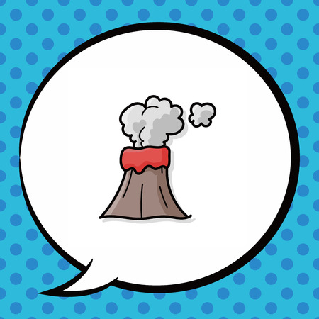 erupt: volcano doodle, speech bubble